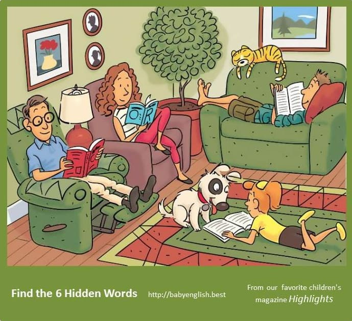 Find six word in the image Living Room