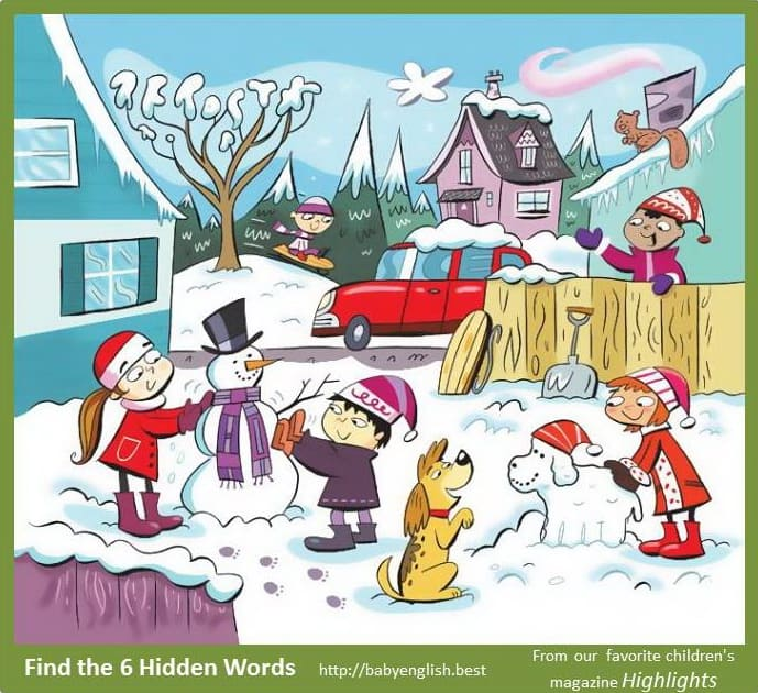 Find six word in the image Winter yard
