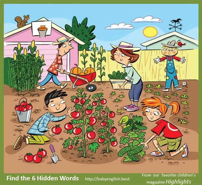 Find six word in the image Garden