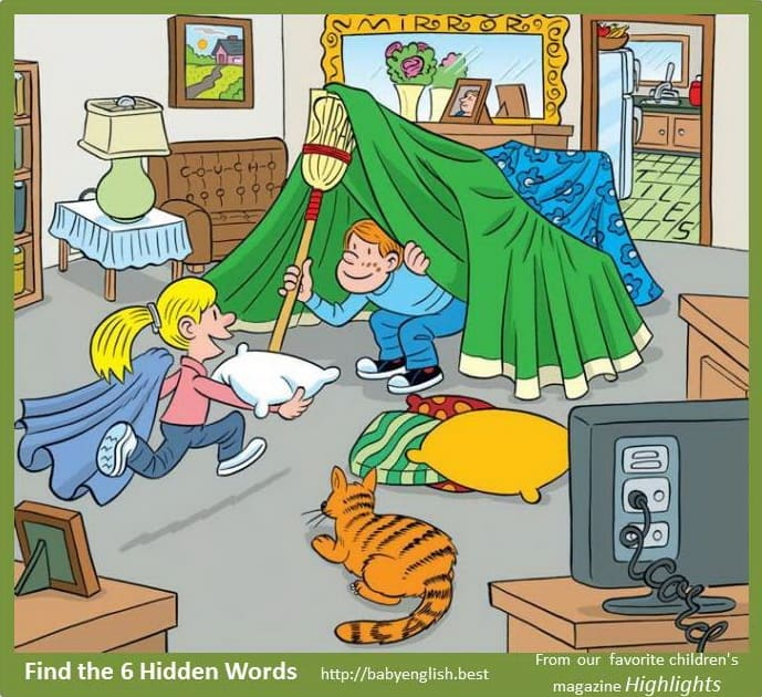 Find six word in the image Build a tent