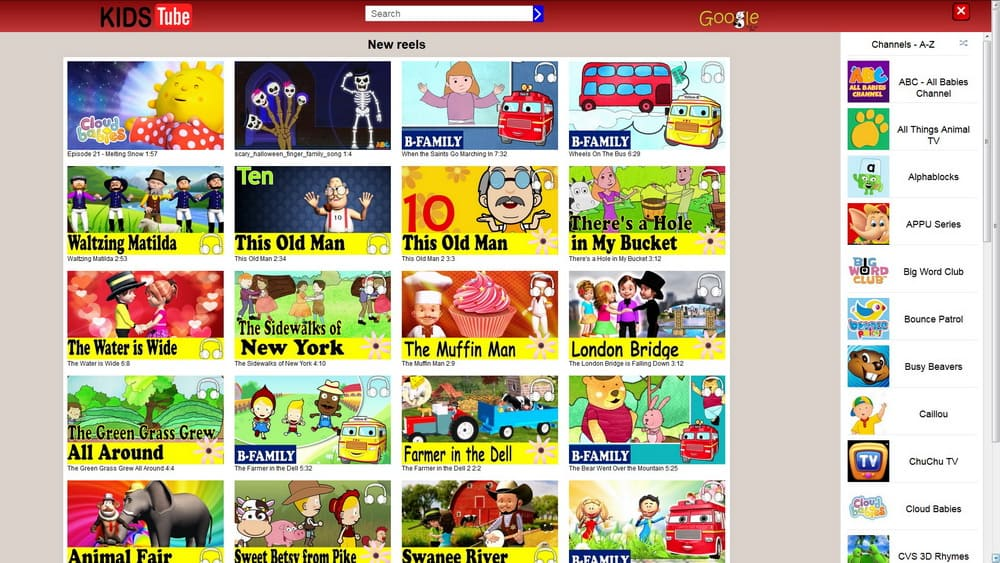 KidsTube main page